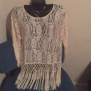 Lace with fringe top-Boutique